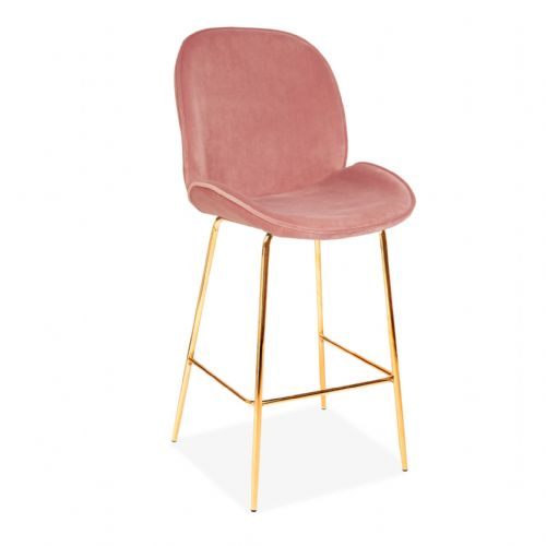x2 Pink Journey Velvet Bar stools, with Gold Legs 65/75cm